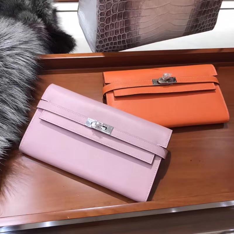 Kelly Wallet 凯莉长款钱包 5p樱花粉/CC93 Orange 橙色 橘色 配全套专柜原版包装