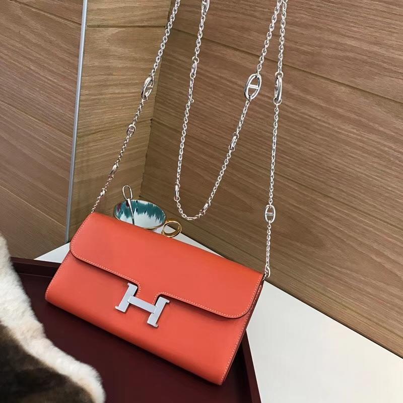 Constance长款H扣钱包 HERMES 爱马仕 CC93 Orange 橙色 橘色