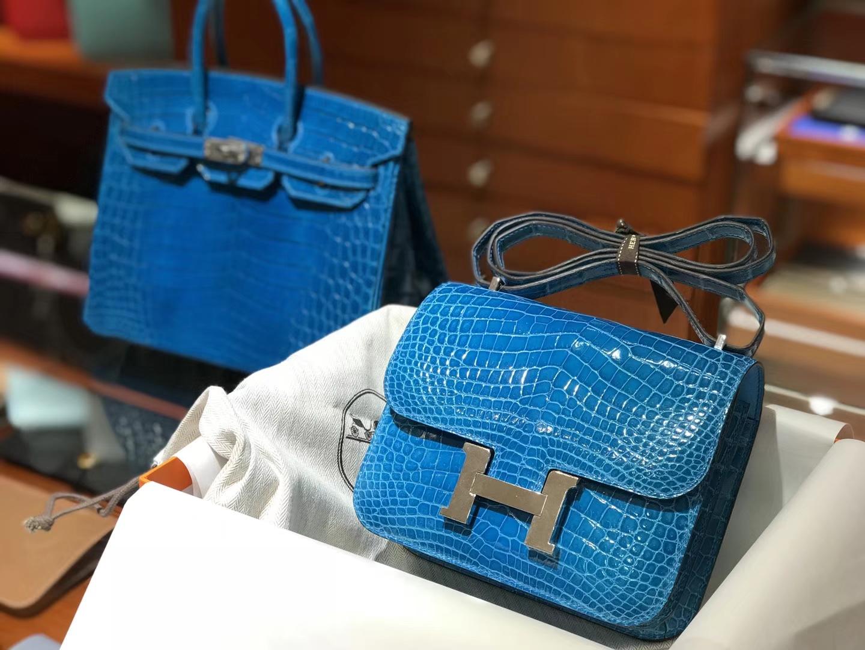 HERMES 爱马仕 铂金包 Birkin 空姐包 Constance B3坦桑尼亚蓝新水妖蓝Zanzibar Blue 配全套专柜原版包装