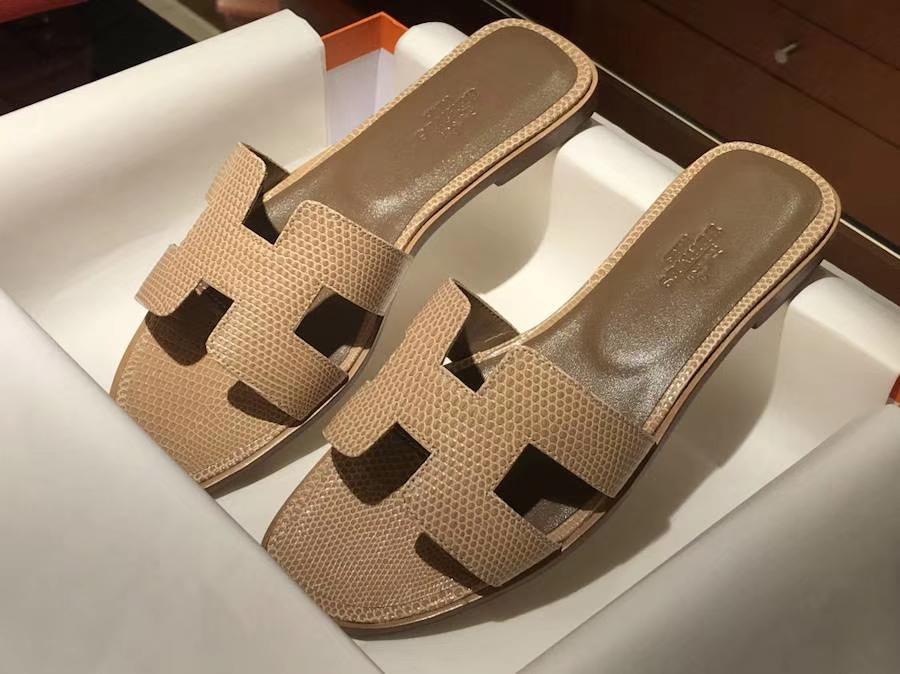 H经典蜥蜴皮拖鞋高端订制Ostrich leather 意大利树羔皮底 手工缝制工艺 cc14杏色beige