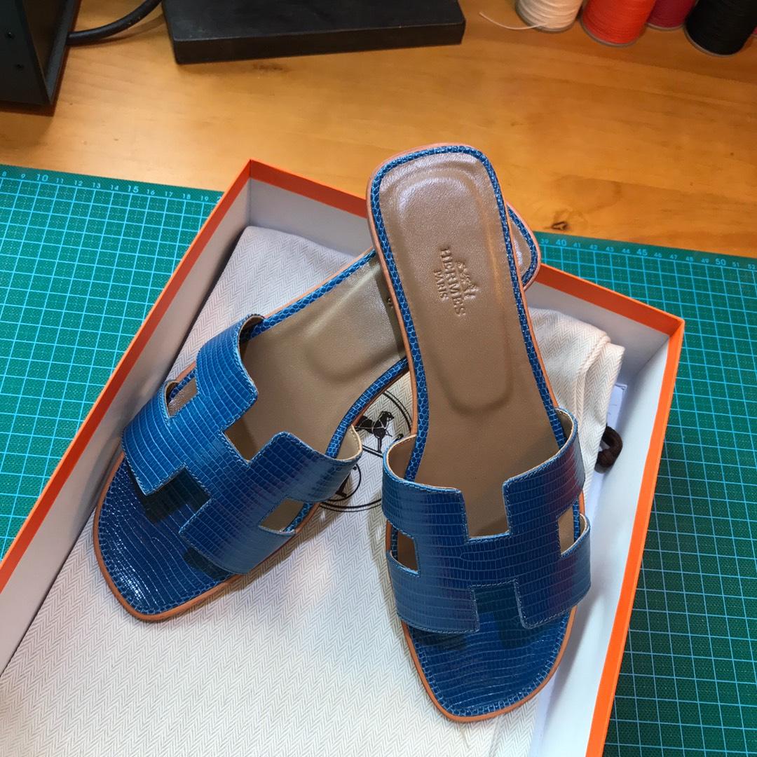 Hermes 平底拖鞋蜥蜴皮 7C Cobalt珊瑚蓝 35-39 一件代发