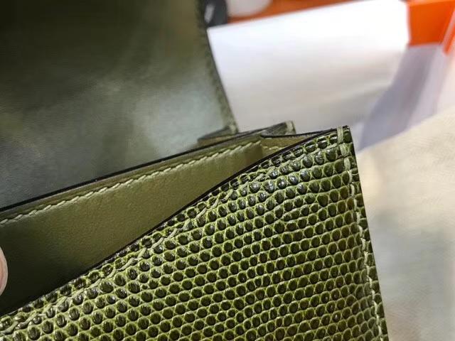 HERMES 空姐包 Constance 蜥蜴皮 6HVeronese橄榄绿 银扣 配全套专柜原版包装