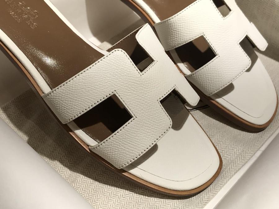 Hermes 经典款拖鞋高端订制独家品质 纯白色 Epsom 厂家直销