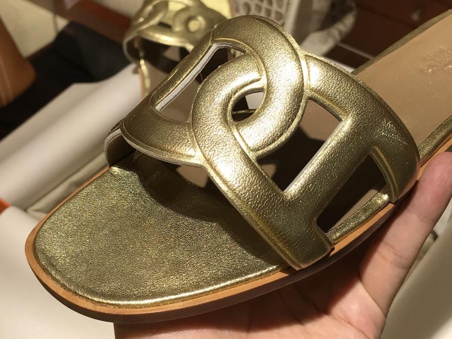 Hermes 新款猪鼻子环扣平底拖鞋 高端订制独家品质 土豪金