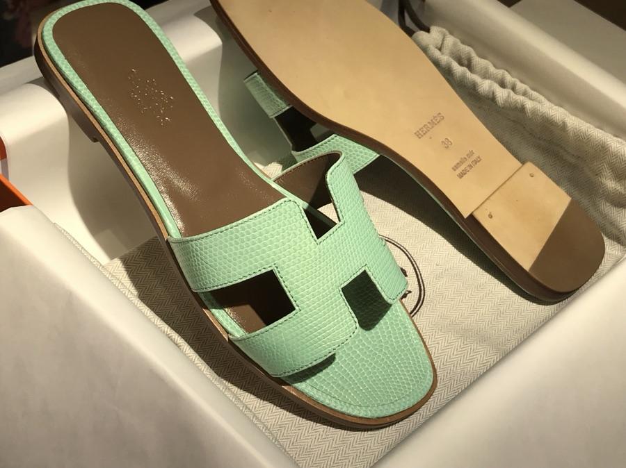 Hermes Lizard 蜥蜴皮拖鞋 意大利树羔皮底 薄荷绿 同步专柜