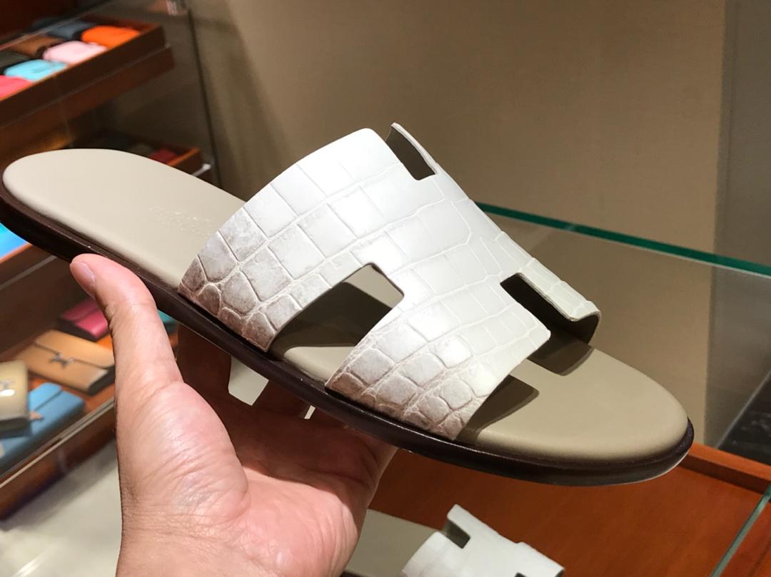 Hermes 喜马拉雅鳄鱼皮男士拖鞋 Himalaya Crocodile leather 喜马拉雅