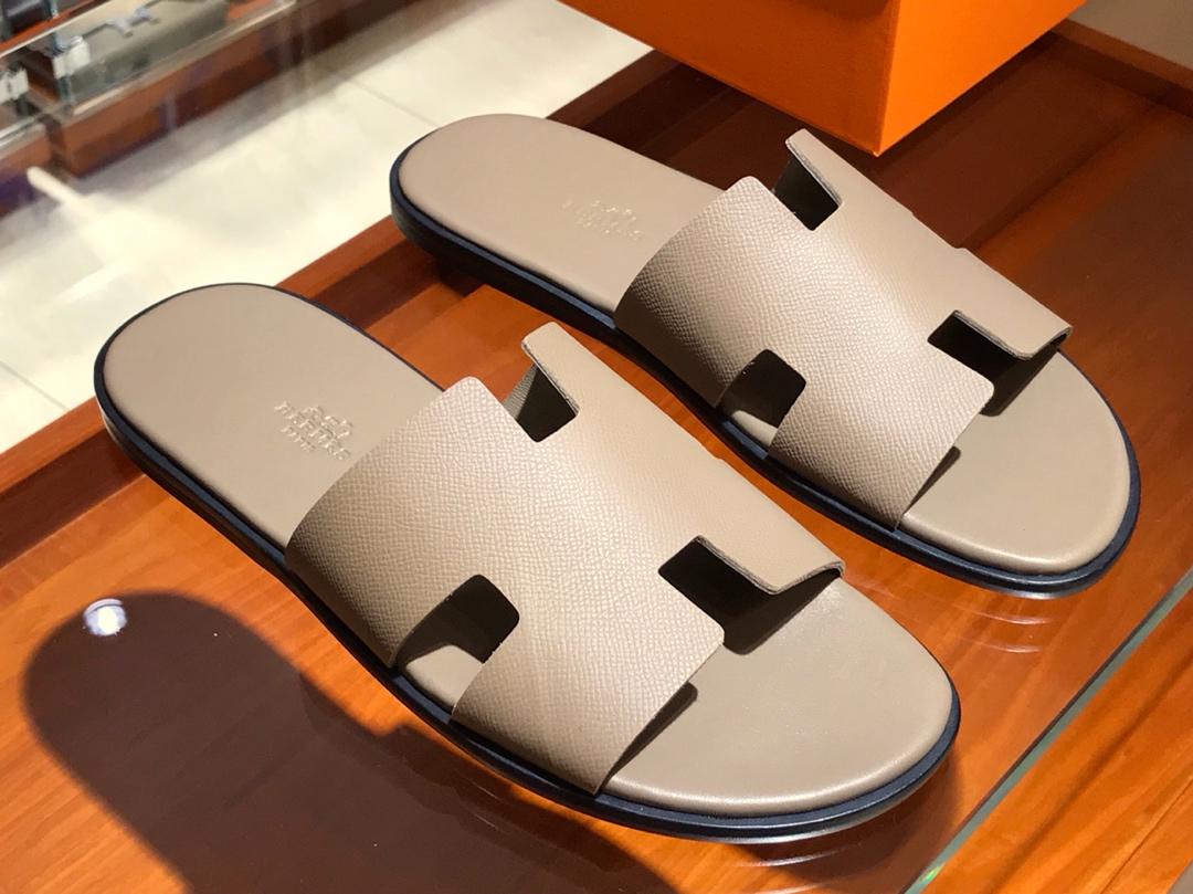Hermes 男仕经典款拖鞋 Epsom leather  意大利树羔皮底 大象灰