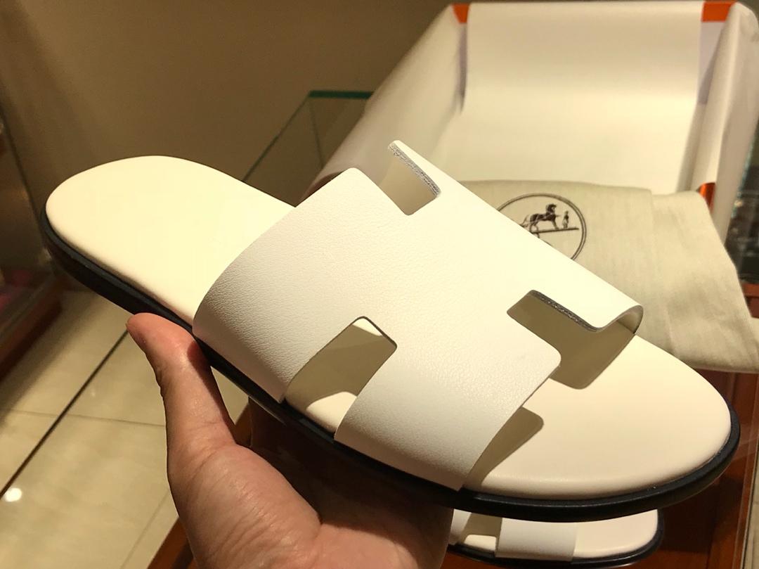Hermes男仕经典款拖鞋 Epsom leather  意大利树羔皮底 纯白色