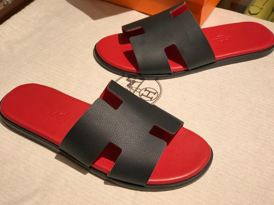 Hermes 同步专柜 男仕经典款拖鞋 Epsom leather 意大利树羔皮底 黑红