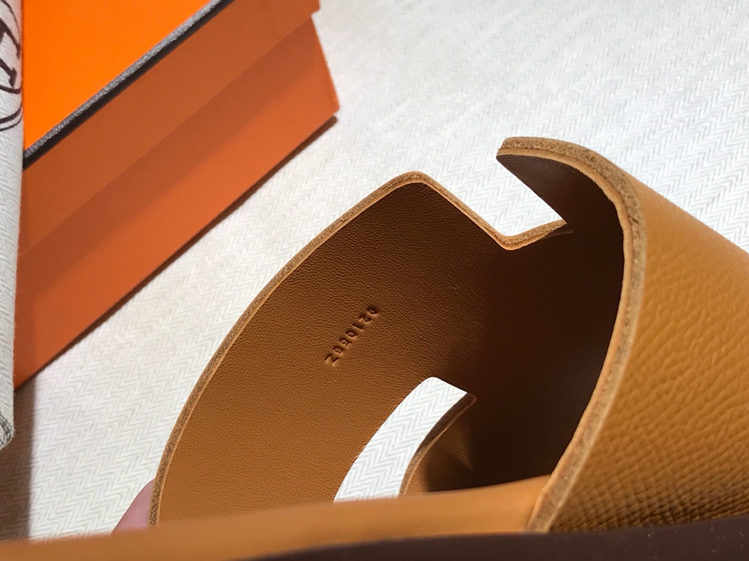 Hermes男仕经典款拖鞋 Epsom leather  意大利树羔皮底 独家品质