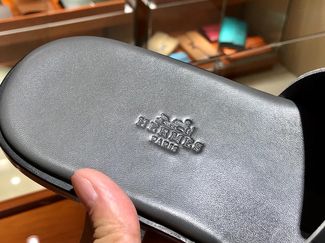 Hermes 鳄鱼皮男拖鞋 Crocodile leather  意大利树羔皮底 石墨灰
