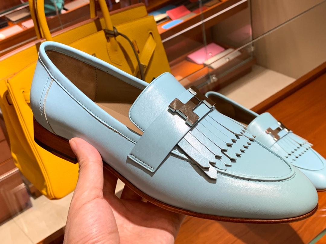 18年秋冬新款女款乐福鞋 玛卡龙 康康H扣流苏平底鞋 羊皮 独家品质