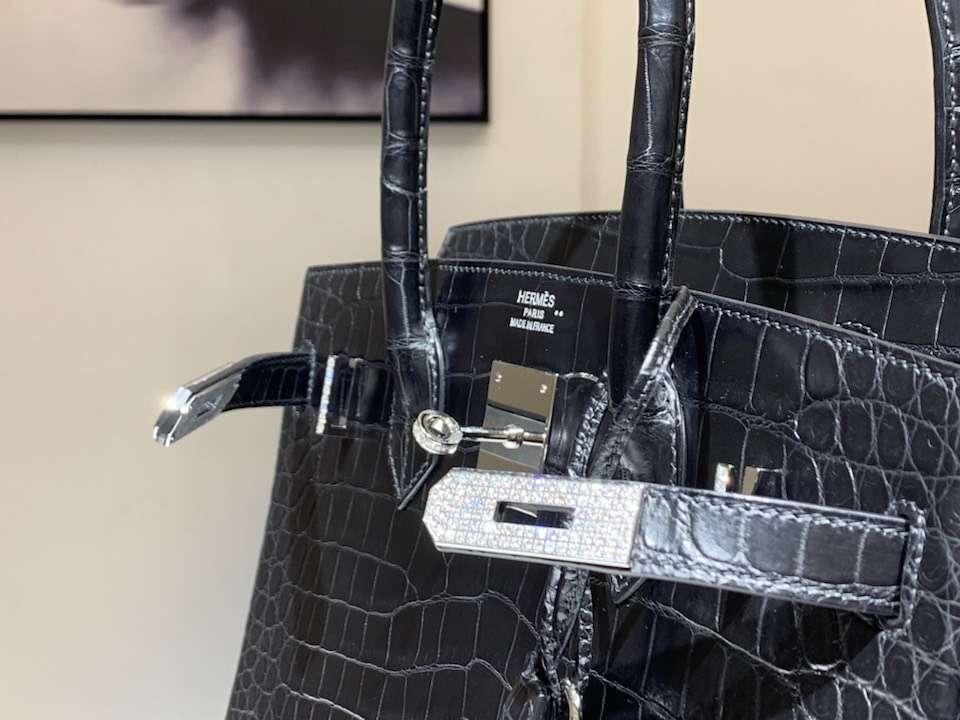 HERMES 爱马仕 铂金包 Birkin 鳄鱼皮 纯手工蜡线 黑色 银扣 全套专柜包装