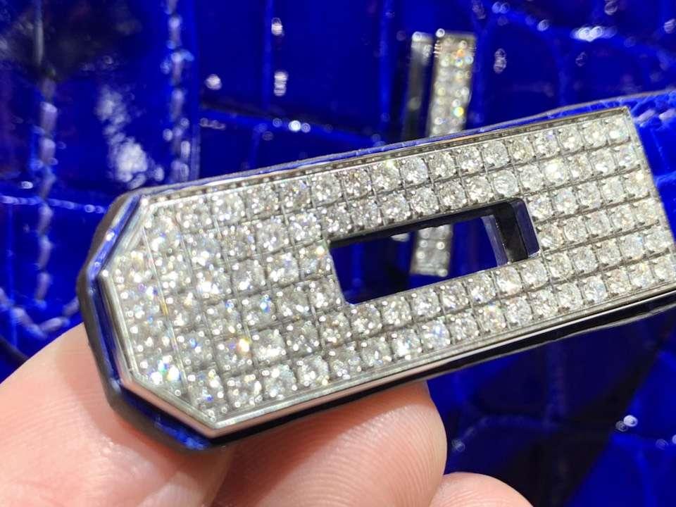 HERMES 爱马仕 铂金包 Birkin 鳄鱼皮 纯手工 电光蓝 银扣 全套专柜包装