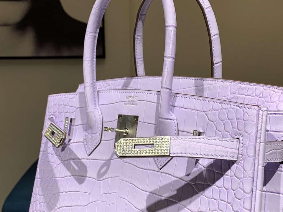 HERMES 爱马仕 带钻银扣 铂金包 Birkin 鳄鱼皮 纯手工 香芋紫 全套专柜包装
