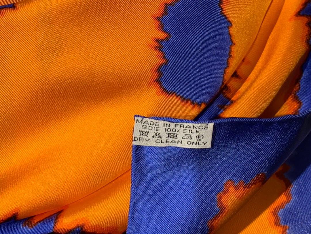 〈 叠影华丽的缰辔 〉蓝橙色 · - 90×90cm 100%真丝 18mm