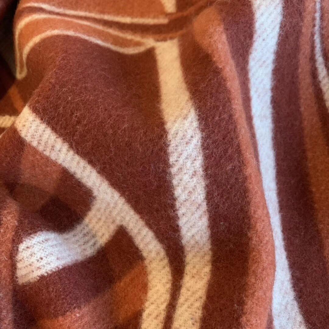 Hermes《 新骏马披挂 》毛毯 140*180cm90%羊毛10%羊绒新款独家放送红色