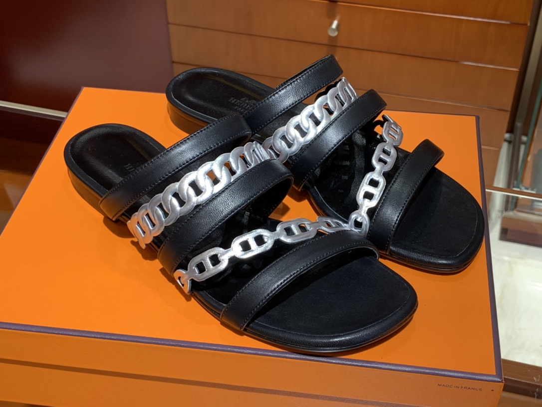 HERMES Amalfi拖鞋 黑色