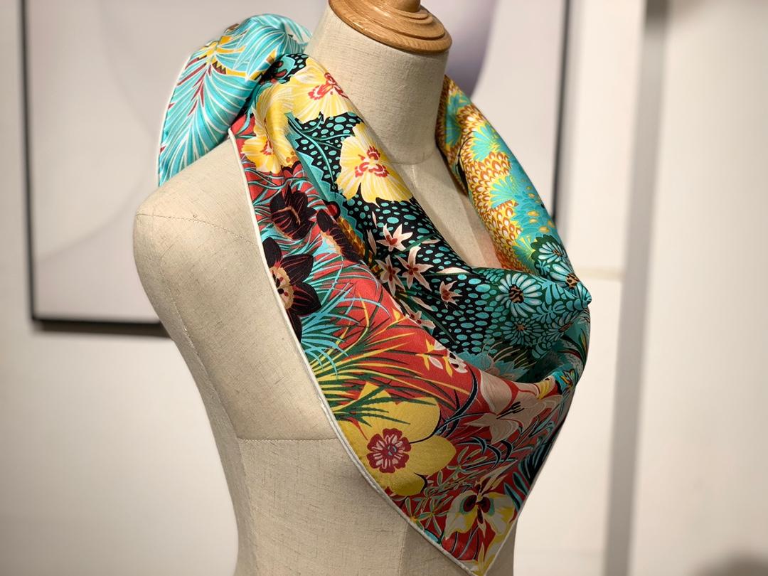 2020年春季新款斜纹真丝方巾 《林中斑马》 90*90cm 绿色 18姆米