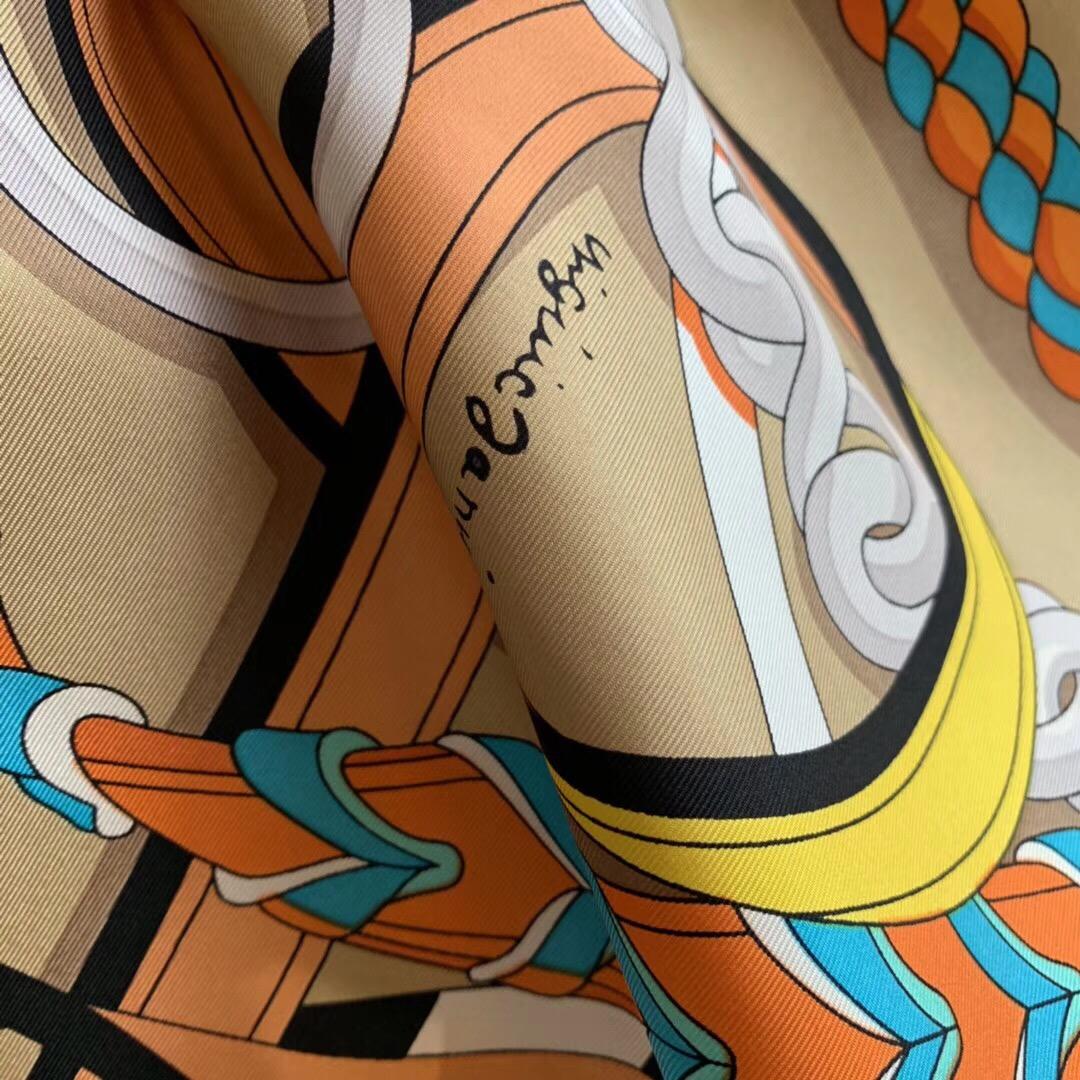 Hermer《全副马具》 140*140cm  100%斜纹真丝 杏色