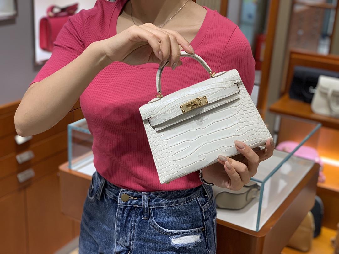 爱马仕中国官网 HERMES 迷你凯莉 MiniKelly二代 19cm 白色 现货