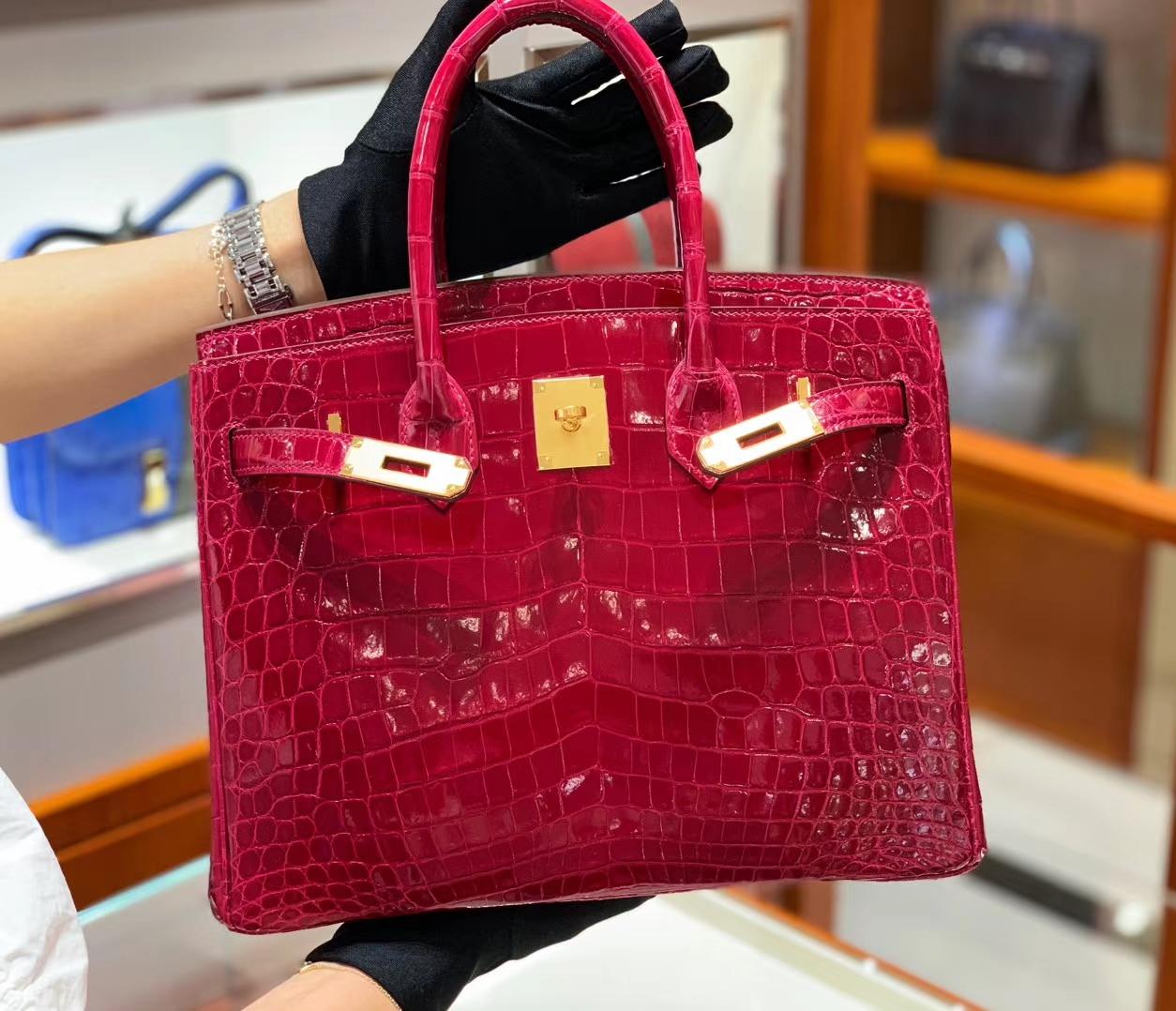 爱马仕包包价格 红色 鳄鱼皮 金扣 纹路清晰 手感超级好 完胜正品 Birkin 25/30