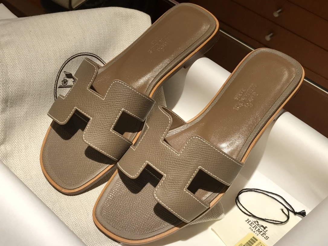 H经典款拖鞋高端订制独家品质 平底35~41 高跟35~41(跟高4cm) 大象灰(掌纹)