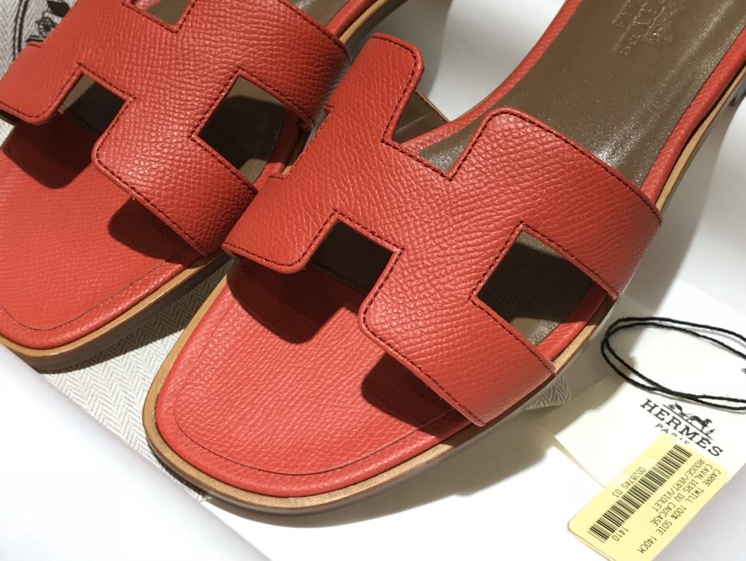H经典款拖鞋高端订制独家品质 平底35~41 高跟35~41(跟高4cm) 中国红(掌纹)