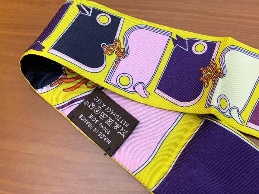 爱马仕小丝巾 Twilly 新款 最高版本 真丝 6*80cm 柠檬黄