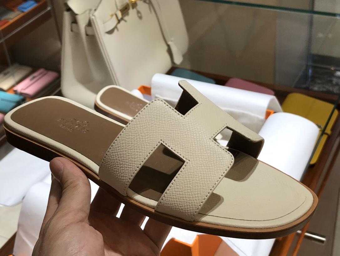 H经典款拖鞋高端订制独家品质 平底35~41 高跟35~41(跟高4cm) 奶昔白 (掌纹)