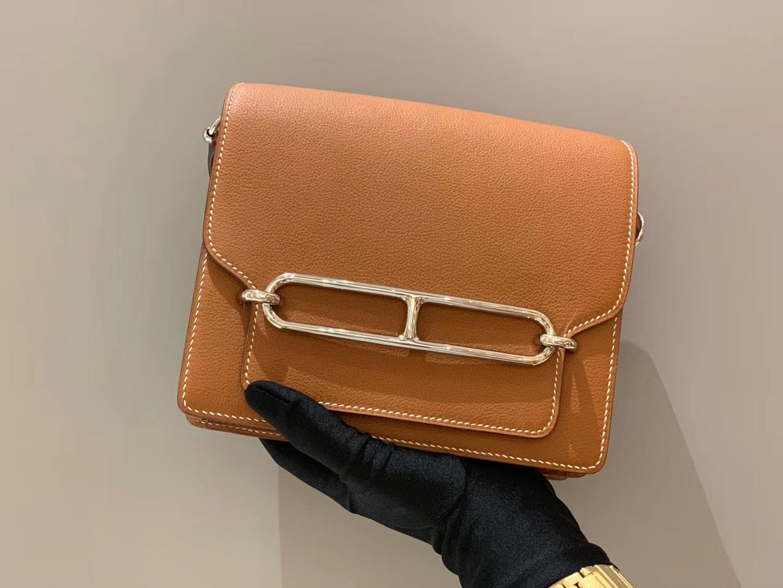 爱马仕女包 Roulis18cmEvercolor  37Gold——金棕色银扣  高级棕色,经典四大金刚色之一
