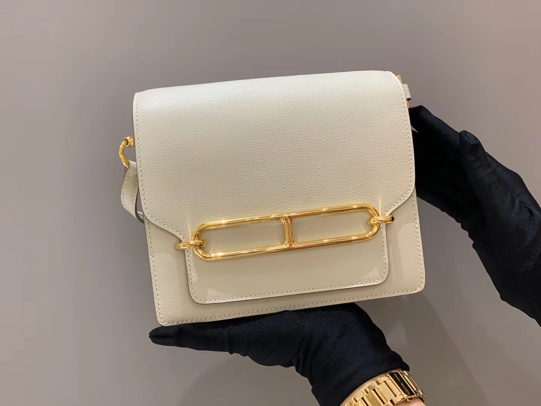 爱马仕官网 Roulis 18cm Evercolor  10 Craie ——奶昔白 金扣