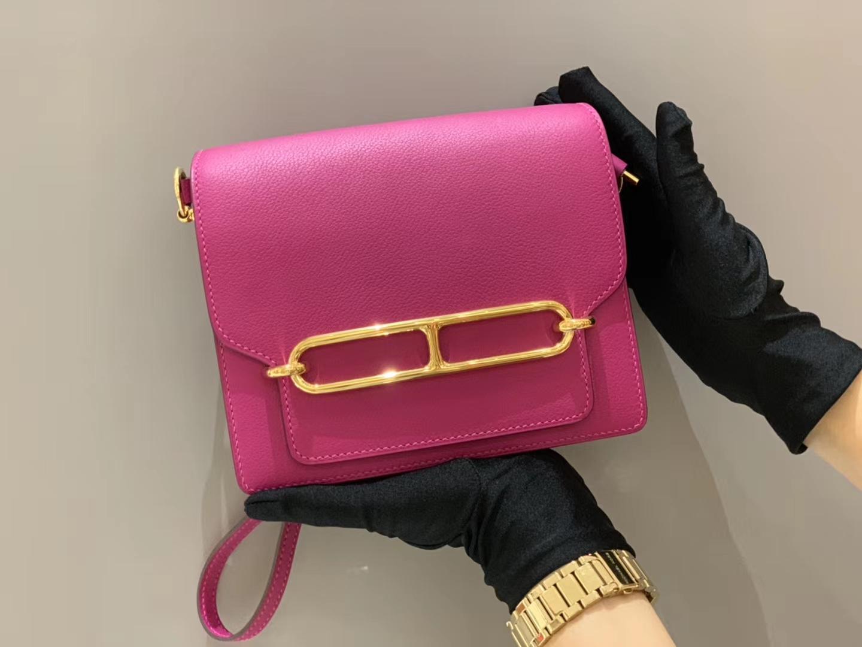 爱马仕女包批发 Roulis 18cm Evercolor  L3 Rose Pourpre  猪鼻子18 玫瑰紫 金扣  这是玫紫色