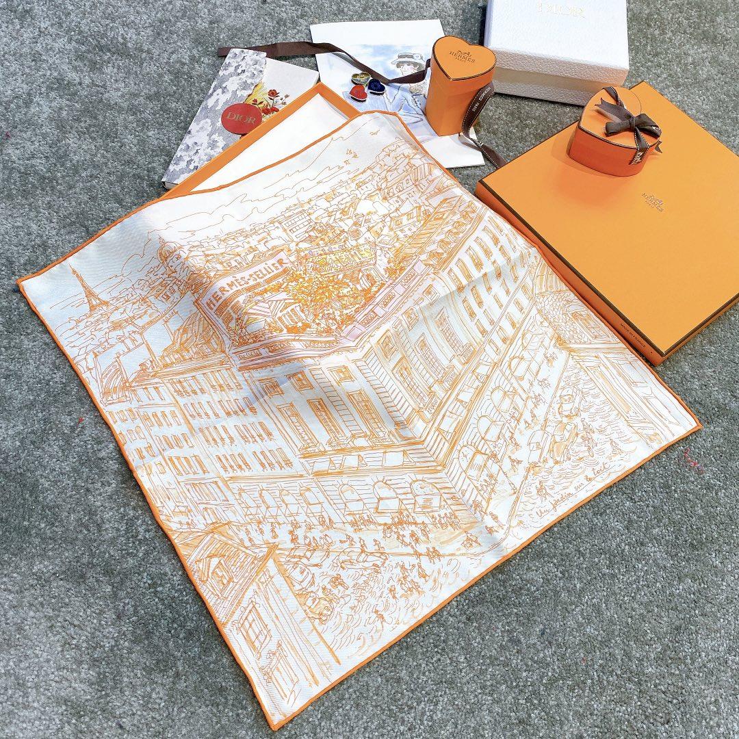 HERMES 《屋顶花园》45x45cm 小方巾 橙色