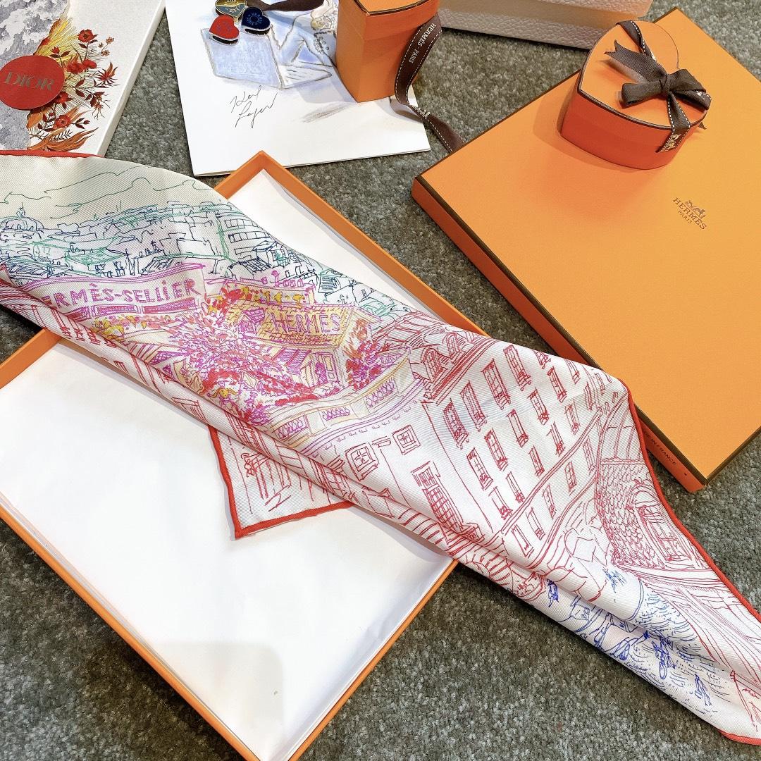 HERMES 《屋顶花园》45x45cm 小方巾 红色