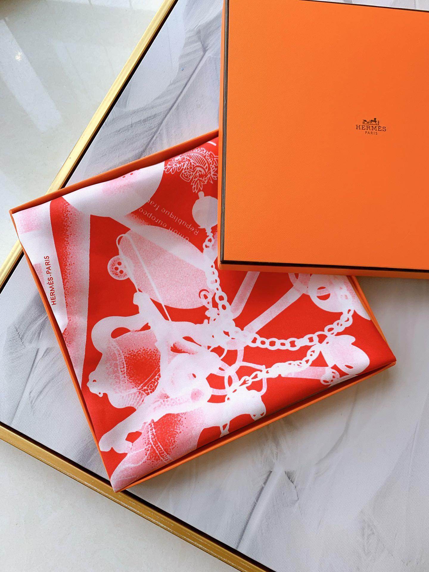 HEREMS《CheckIn》橙色 90×90cm100%真丝斜纹绸18mm大克重