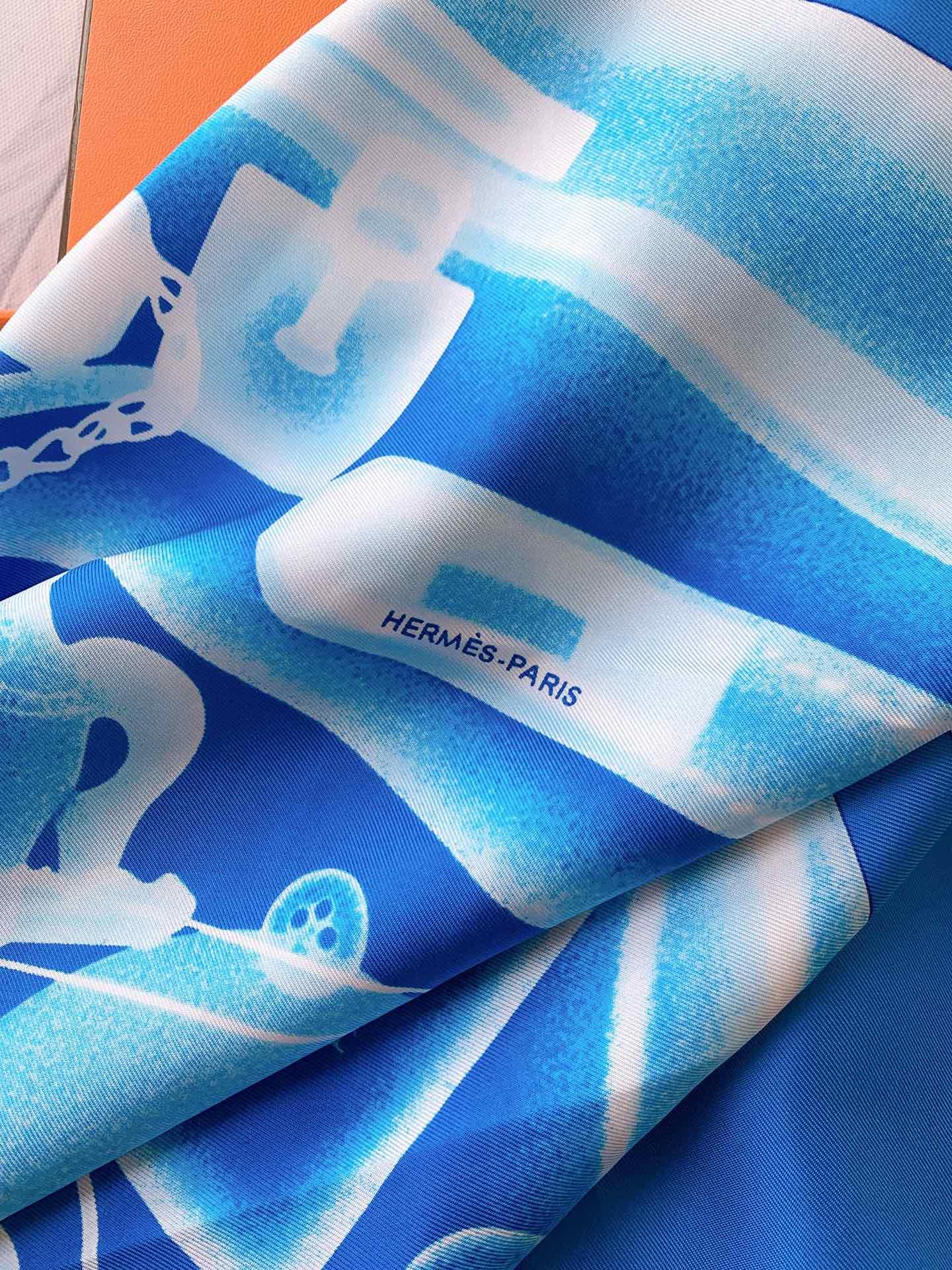 HEREMS《CheckIn》蓝色 90×90cm100%真丝斜纹绸18mm大克重