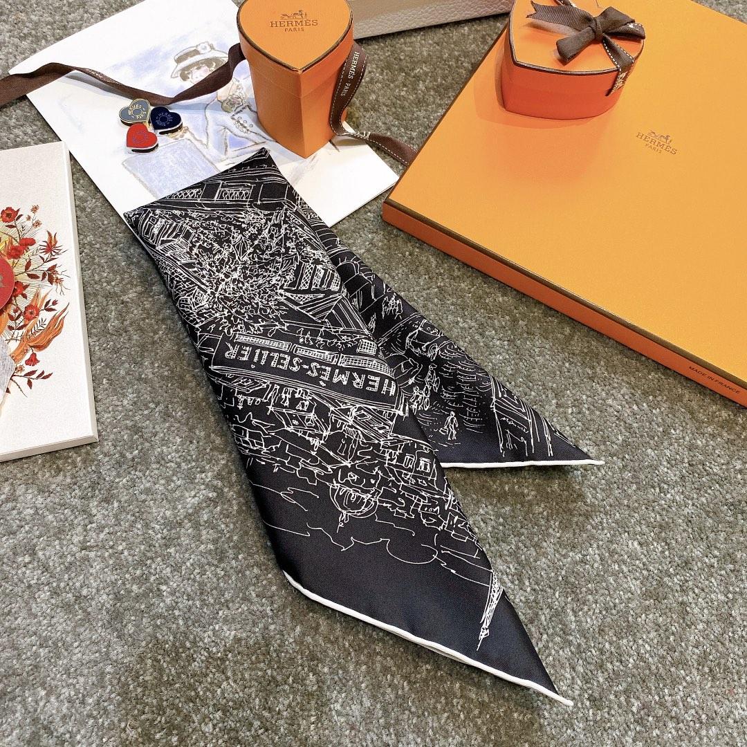 HERMES 《屋顶花园》45x45cm 小方巾 黑色