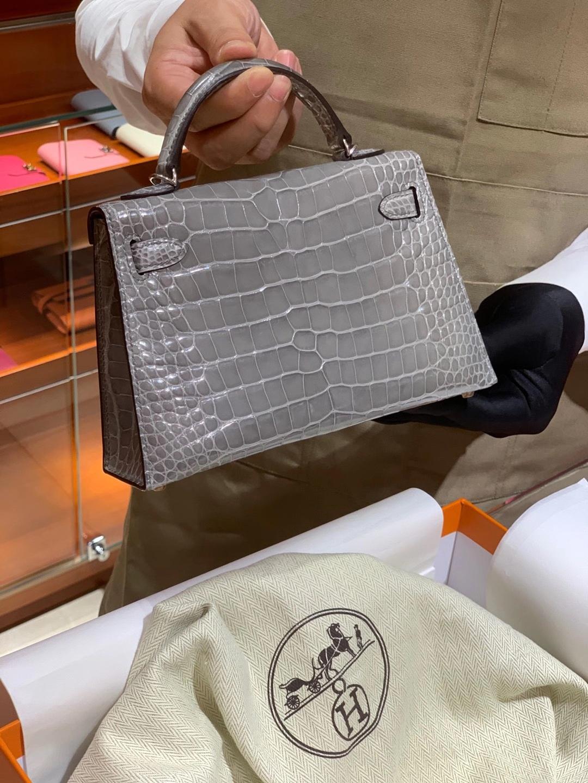 HERMES Kelly 二代鳄鱼 银河灰 金扣银扣 可定制 纯手工