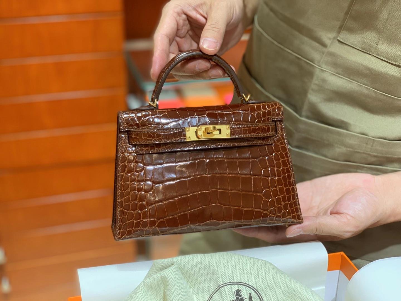 HERMES Kelly 二代鳄鱼 蜜糖棕 金扣银扣 可定制 纯手工