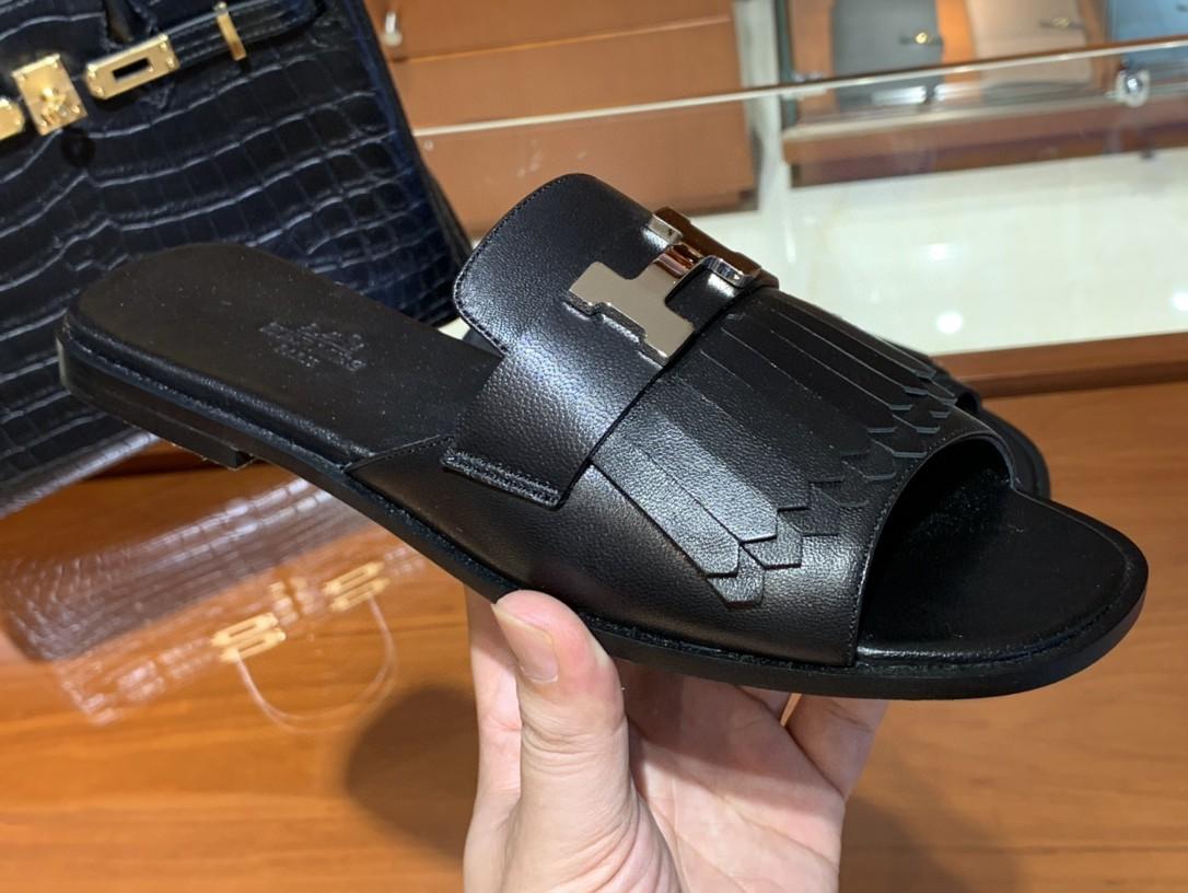 HERMES 新款鱼嘴平跟拖鞋 黑色 小羊皮材质 手工定制 货期12天