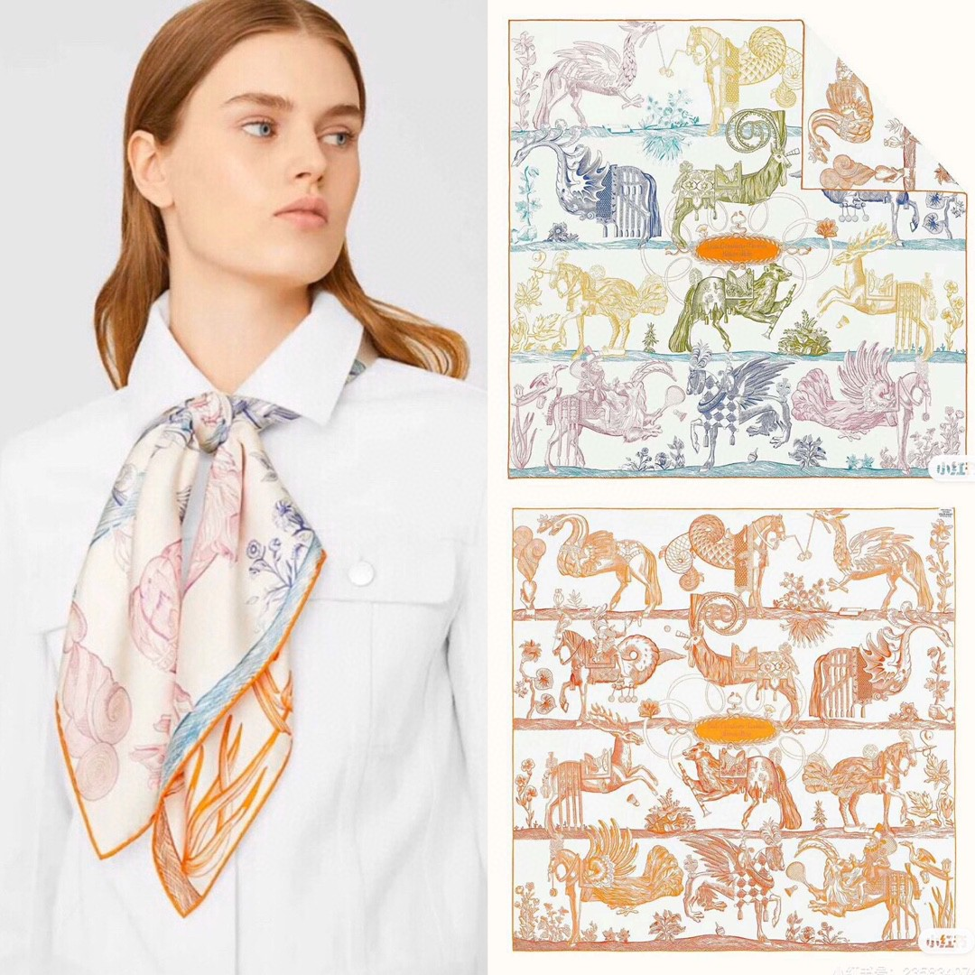 HERMES 《 神奇骏马》双面方巾 橙色 Size:90x90cm 100%真丝 满满的爱马仕的夏天风,整体的高级感十足