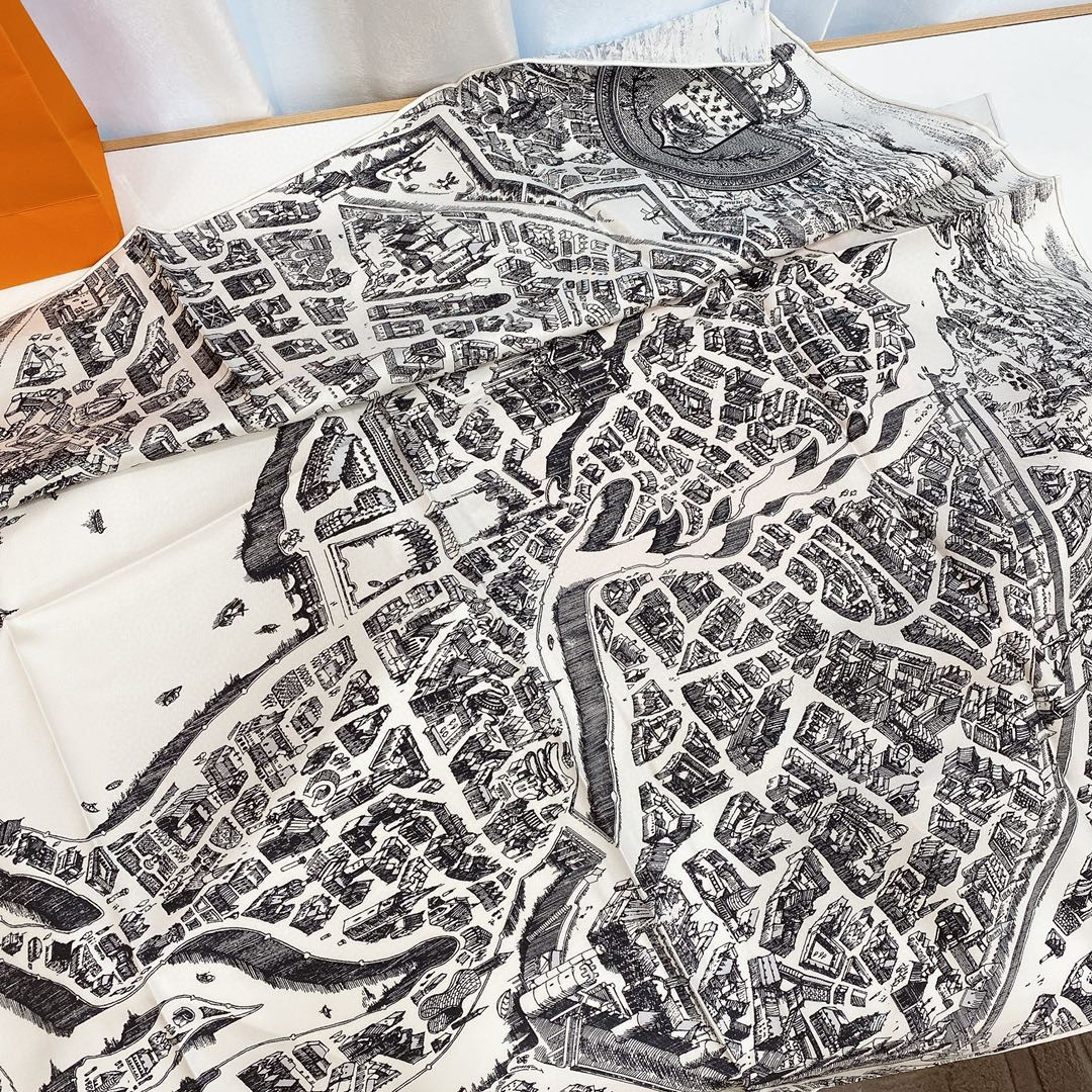 Hermes 《骏马之城》灰白色 100%真丝 90*90cm 一座城一匹马 显格调