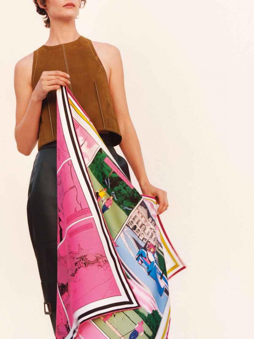 Hermes 爱马仕 《 wow 》双面方巾 粉色 90*90cm100%真丝18mm足专柜克重 进口原版台版套色