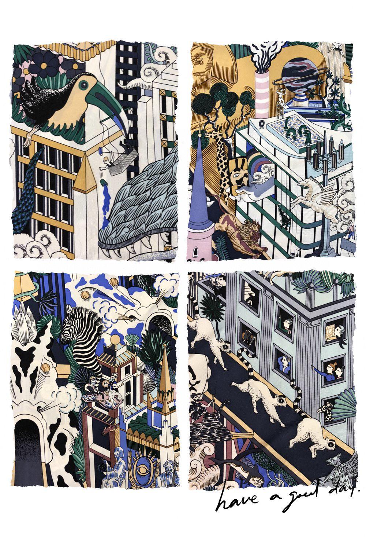HERMES 爱马仕 夏季新款《动物之城丝巾》紫色 Size:90x90cm 100%真丝