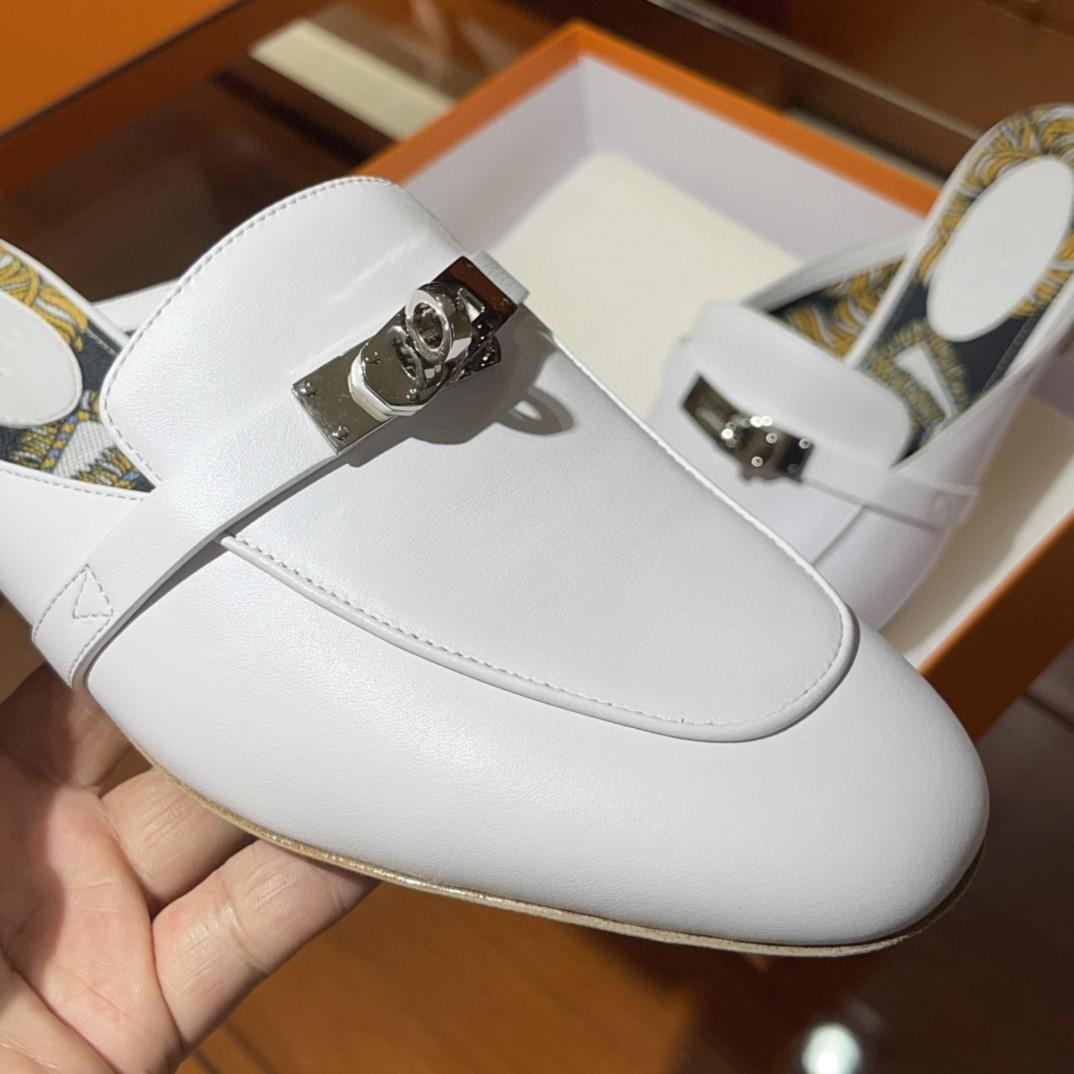 Hermes 爱马仕 凯莉半拖  手工定制 小牛皮 白色 35-41码 正码 (脚胖或者脚背高的建议拿大一码)