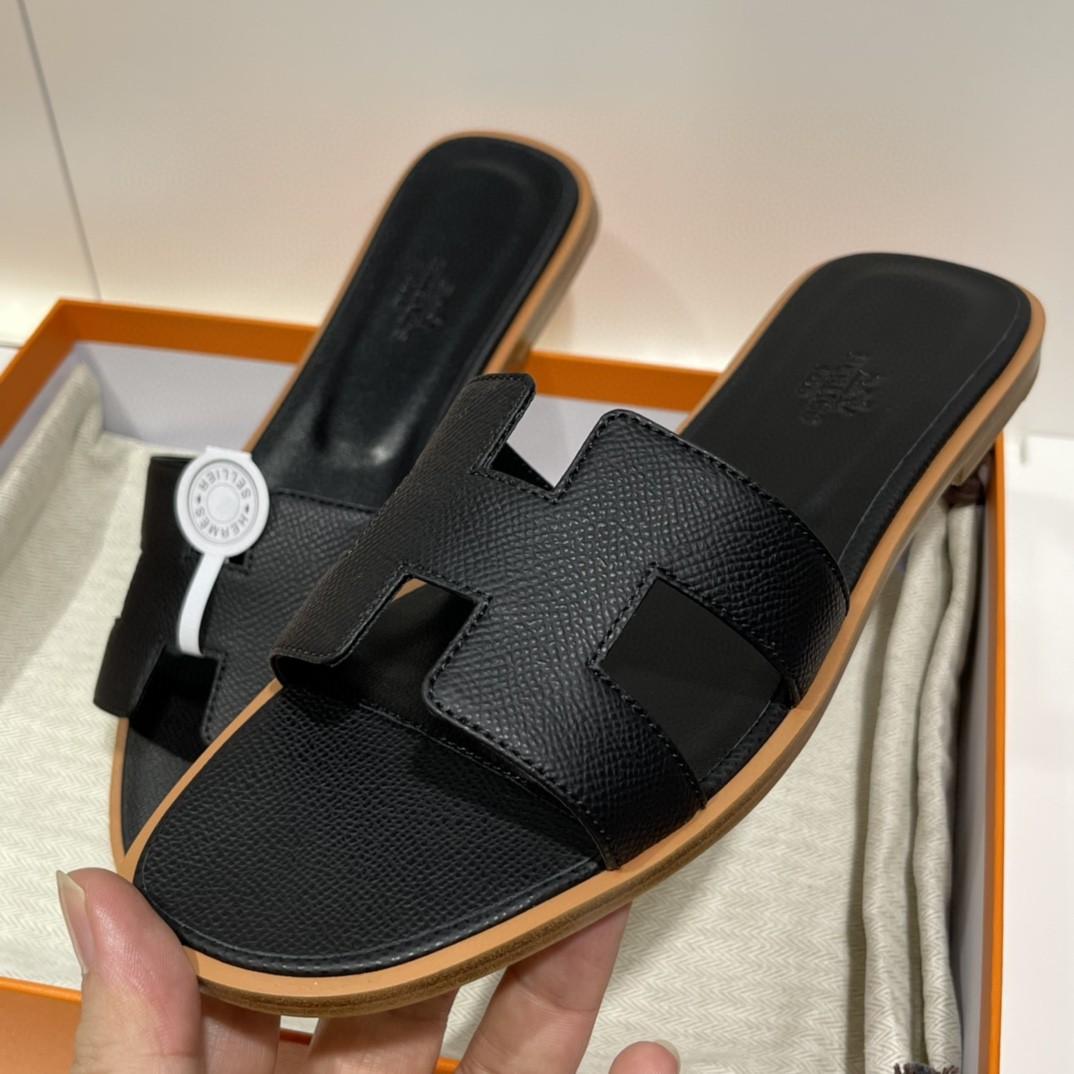 爱马仕 客订的掌纹拖鞋出货 手工定制 可定制全黑垫脚  意大利树羔皮大底 纯手工工艺 35-41(偏小一码)