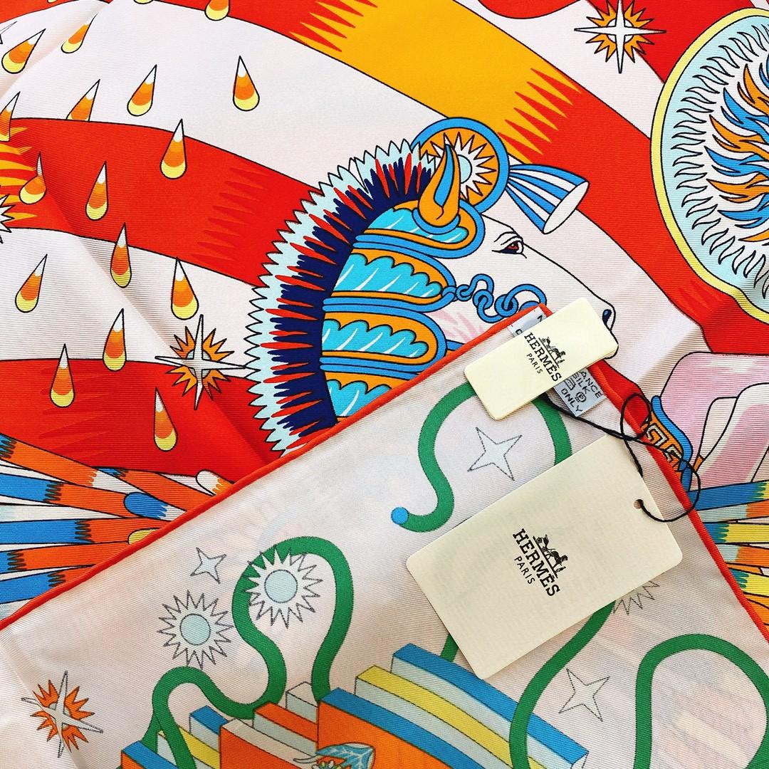 HERMES 21年夏季新款丝巾《飞马之源》粉色 90x90cm 100%真丝材质