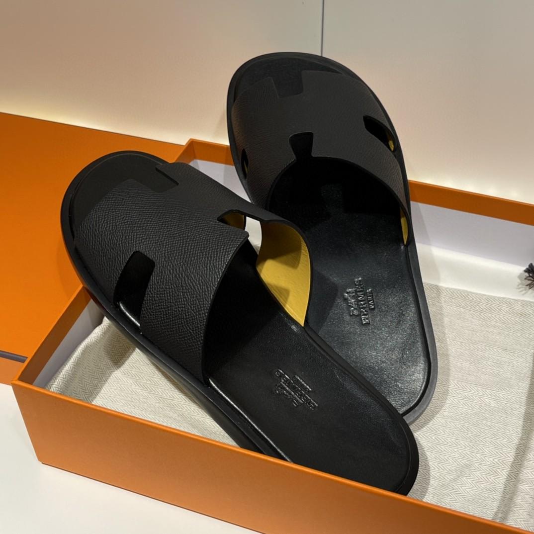 HERMES 男士拖鞋 纯手工 接受预定 偏小一码 39-45 Epsom 黑色 超高级~ 货期12天