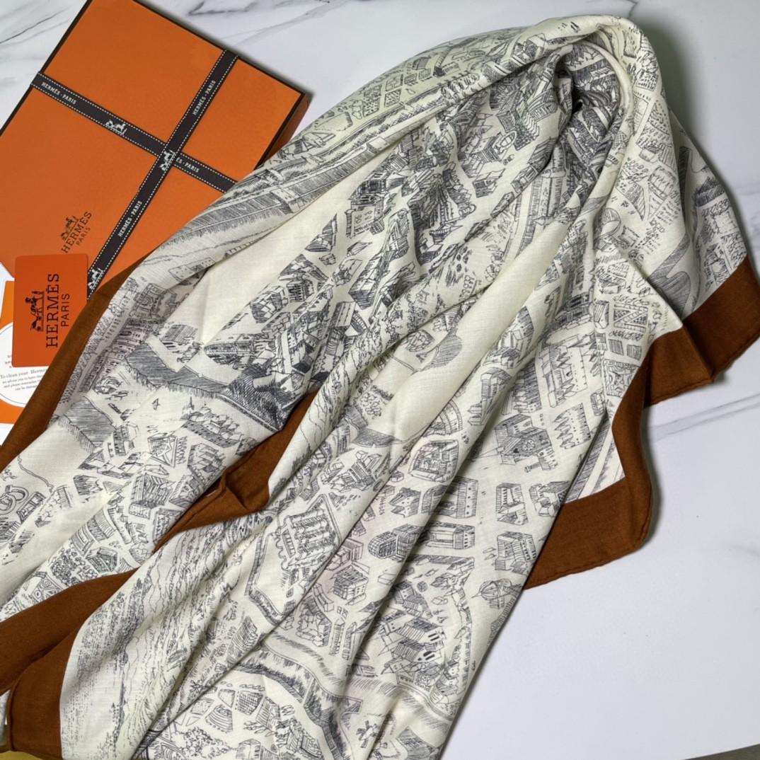 HERMES秋季款新款丝绒方巾 《骏马之城》焦糖色 Size:140x140cm 真丝+羊绒